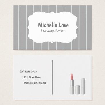 Professional Business Makeup Artist Business Card Grey