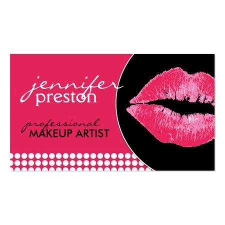 Standard Size Modern Pretty Pink Lips Lipstick Kiss Makeup Artist Business Cards