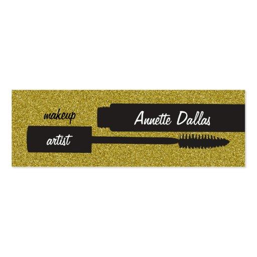 Makeup artist business cards glitter-look gold