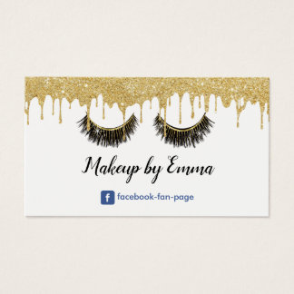 Makeup Artist Chic Lashes Modern Gold Dripping Business Card