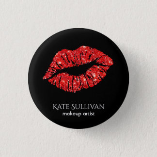 makeup artist chic red lips button