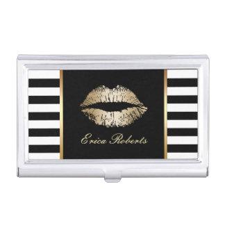 Makeup Artist Classy Black White Stripes Gold Lips Business Card Case