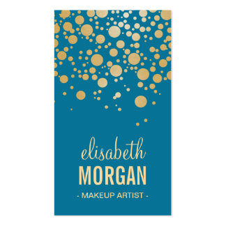 Makeup Artist - Classy Gold Confetti Dots in Blue Business Card