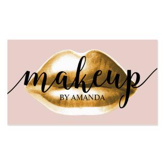 Makeup Artist Classy Script Gold Lips Girly Business Card