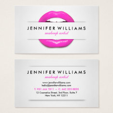 Makeup Artist Cool Pink Lips Gray Texture Modern Business Card at Zazzle
