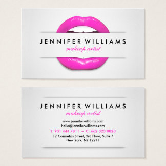 Makeup artist cool pink lips gray texture modern business card
