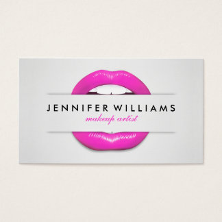 Makeup artist cool pink lips gray texture modern business card