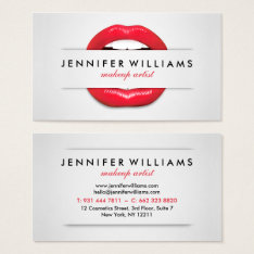 Makeup Artist Cool Red Lips Gray Texture Modern Business Card at Zazzle