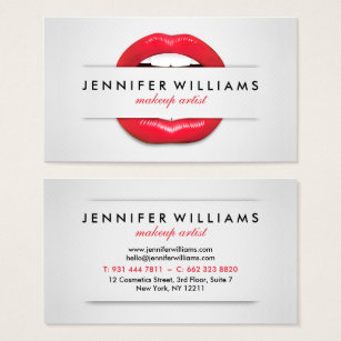 Make up artist business cards zazzle makeup artist cool red lips gray texture modern business card colourmoves Image collections