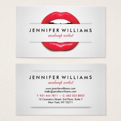 Makeup Artist Red Lips Black Glitter Modern Business Card | Zazzle.com