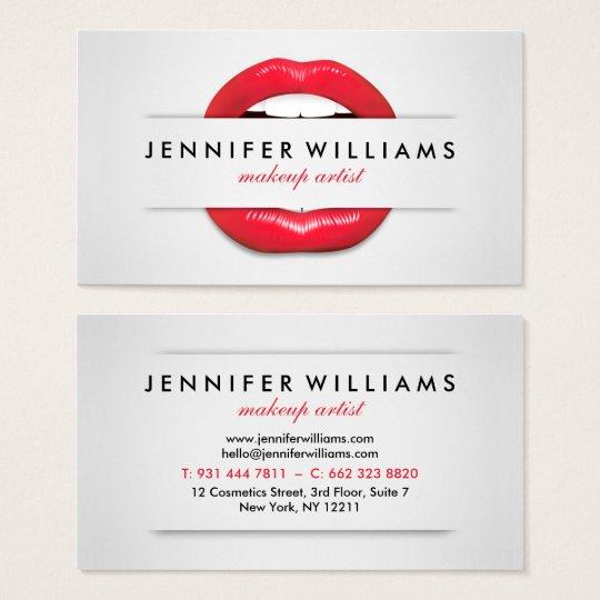 Makeup artist cool red lips gray texture modern business card makeup artist cool red lips gray texture modern business card reheart Choice Image