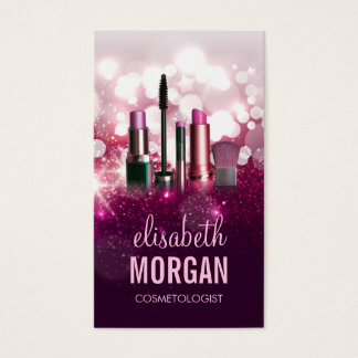 Makeup Artist Cosmetician - Pink Beauty Glitter Business Card