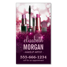 Makeup Artist Cosmetician - Pink Beauty Glitter Business Card Magnet at Zazzle