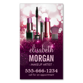 Makeup Artist Cosmetician - Pink Beauty Glitter Business Card Magnet