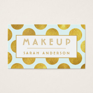 Makeup Artist Cosmetologist- Modern Big Gold Dots Business Card