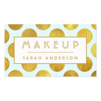 Makeup Artist Cosmetologist- Modern Big Gold Dots Double-Sided Standard Business Cards (Pack Of 100)