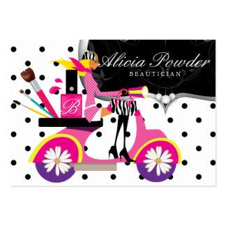 Makeup Artist Cosmetologist Scooter Girl Dots Business Card Templates
