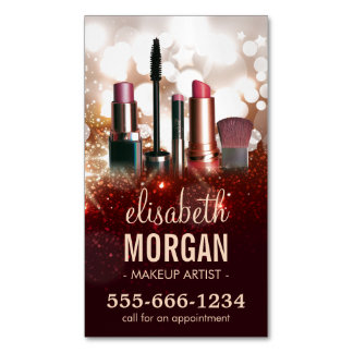 Makeup Artist Cosmetologist Shiny Glitter Sparkle Business Card Magnet