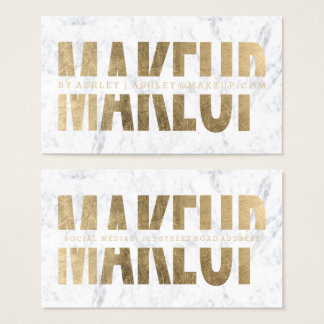 Makeup artist cut out faux gold typography marble business card