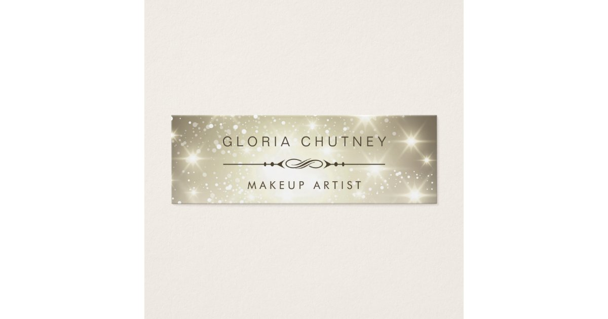Makeup Artist - Dazzle Sparkling Bokeh Glitter Mini Business Card ...