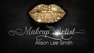Makeup Artist Diamonds Sparkle Lips Business Card