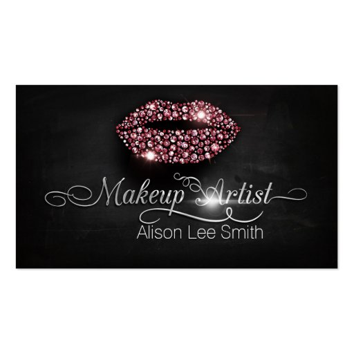 Makeup Artist/Diamonds Sparkle Lips Tarjetas De Visita