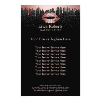 Makeup Artist Dripping Rose Gold Lips Beauty Salon Flyer