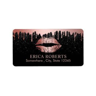Makeup Artist Dripping Rose Gold Lips Beauty Salon Label