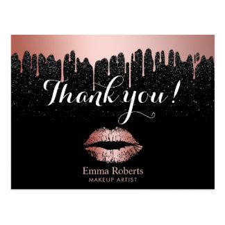 Makeup Artist Dripping Rose Gold Lips Thank You Postcard