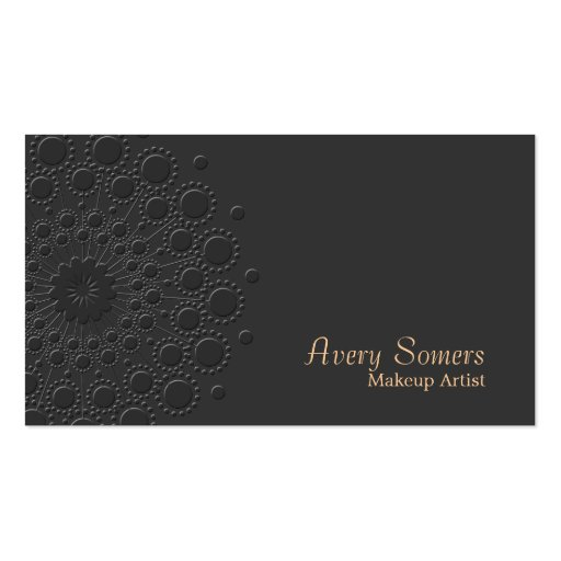 Makeup Artist Elegant Faux Embossed Rosette Black Double-sided Standard Business Cards (pack Of 100)