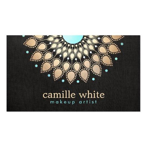 Makeup Artist Elegant Gold Ornate Logo Black Double-sided Standard Business Cards (pack Of 100)