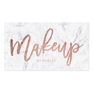 Makeup artist elegant rose gold typography marble business card