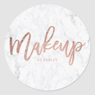 Makeup artist elegant rose gold typography marble classic round sticker