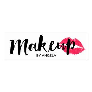 Makeup Artist Elegant Script Red Lips mini Mini Business Card