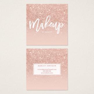Makeup artist elegant typography blush rose gold 2 square business card