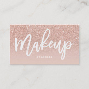 Makeup artist business cards zazzle makeup artist elegant typography blush rose gold business card colourmoves