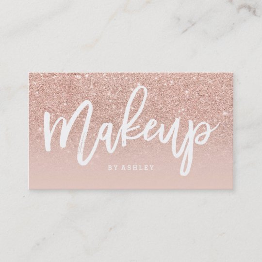 makeup artist elegant typography blush rose gold business card - Rose Gold Business Cards