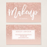 "Makeup artist elegant typography blush rose gold business card<br><div class=""desc"">An elegant modern,  stylish makeup artist business card with elegant script hand lettering style typography in white on a faux rose gold glitter and pastel blush pink trendy and elegant background. If you need any customization,  don&#39;t hesitate in contacting me</div>"