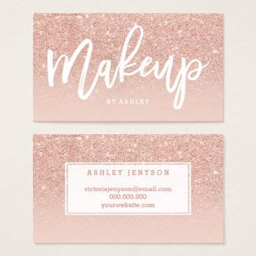 girly_trend Makeup artist elegant typography blush rose gold business card