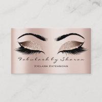 Makeup Artist Eyebrow Lashes Extensi Glitter Pink Business Card