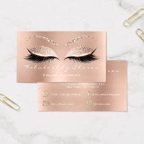 Makeup Artist Eyebrow Lashes Glitter Rose White Business Card