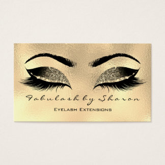 Makeup Artist Eyebrow Lashes Gold Glitter Waxing Business Card