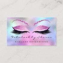 Makeup Artist Eyebrow Lashes Social Glitter Pink Business Card