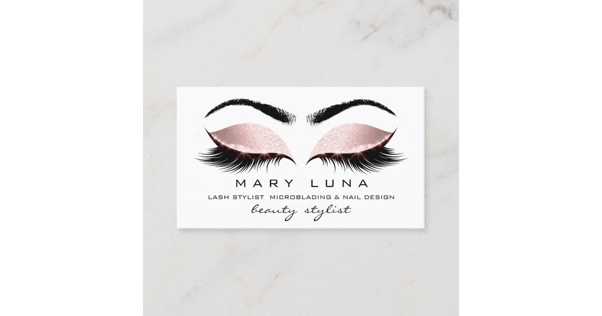 4017dfbec88 Makeup Artist Eyebrows Lashes White Rose Gold Business Card ...