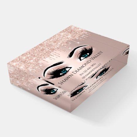 Makeup Artist Eyelash Extension Blue Rose Glitter Paperweight