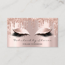Makeup Artist Eyelash Lashes Glitter Drips Rose Business Card