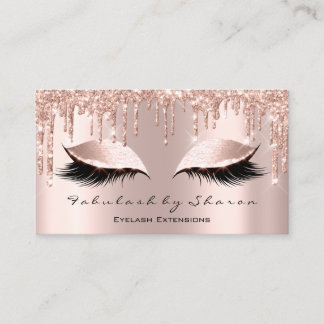 Makeup Artist Eyelash Lashes Glitter Drips Rose Business Card