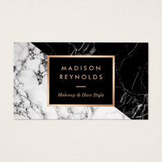Makeup Artist Fashionable Mixed Black White Marble Business Card at Zazzle