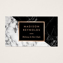Fashion stylists business cards templates zazzle makeup artist fashionable mixed black white marble business card colourmoves