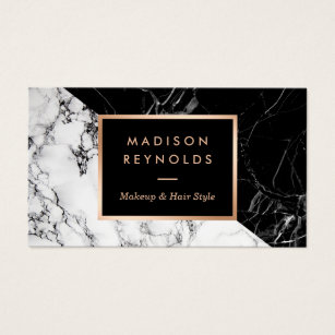 Makeup artist business cards zazzle makeup artist fashionable mixed black white marble business card colourmoves
